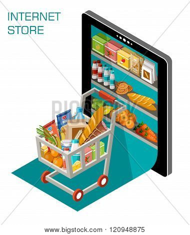 Vector illustration of online store. Concept internet shop