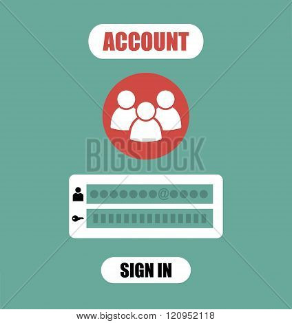 Member Login Form into account managment page, ui element, web site, mobile app, secure login, vecto