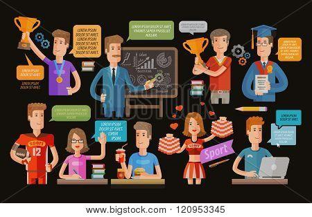 University school icons set on dark background. vector illustration