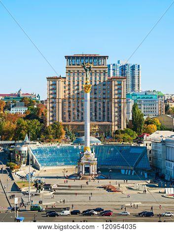 KIEV, UKRAINE - SEPt 24, 2015: Berehynia monument on Independence Square (Maidan Nezalezhnosti) in Kiev Ukraine