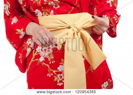 Yellow Ribbon On Japanese Traditional Clothes Of Kimono, Yukata