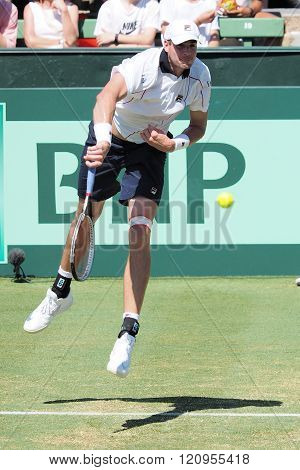 US Tennis player John Isner during Davis Cup serving to Sam Groth
