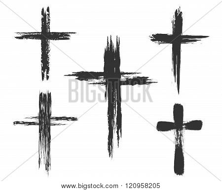 Brush painted cross icons