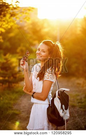 Hipster Girl Smiling In Park.
