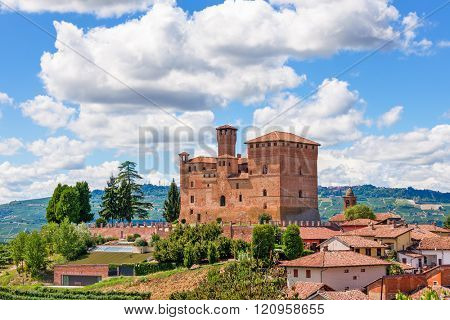 Old medieval castle in town of Grinzane cavour in Piedmont, Northern Italy.
