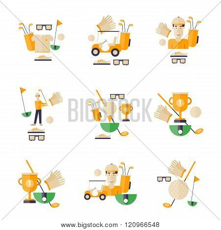 Golf, golf car, golf club, golf ball. Golf icons. Flat style vector illustration.