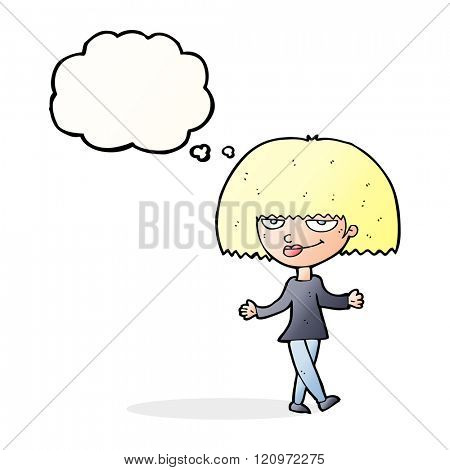 cartoon smug looking woman with thought bubble