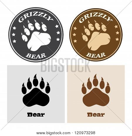 Bear Paw Print Circle Logo Design
