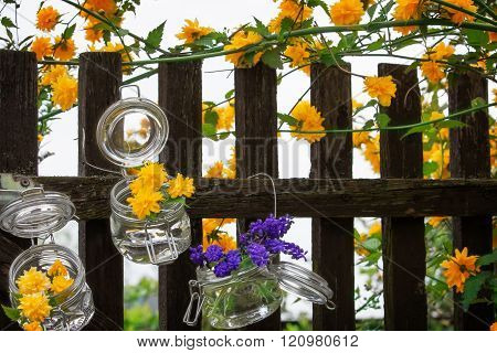 a Floral decoration at the garden gate