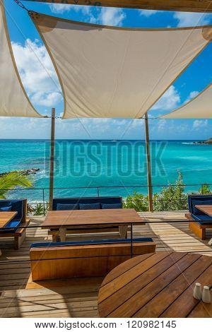 Beautiful St Martin Caribbean ocean vacation destination scene