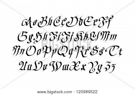 Blackletter gothic script hand-drawn font art vector poster