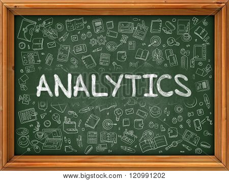 Analytics Concept. Green Chalkboard with Doodle Icons.