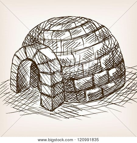 Igloo snow house hand drawn sketch vector