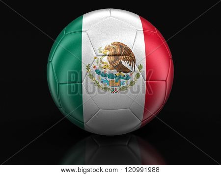 Soccer football with Mexican flag. Image with clipping path
