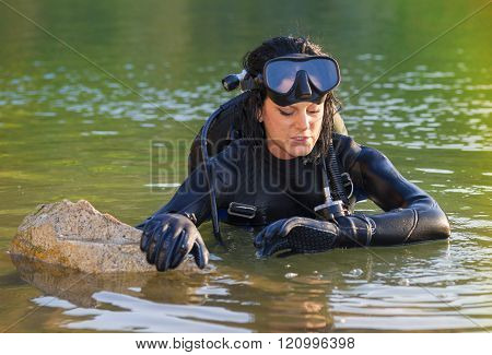 Beautiful Woman Diver
