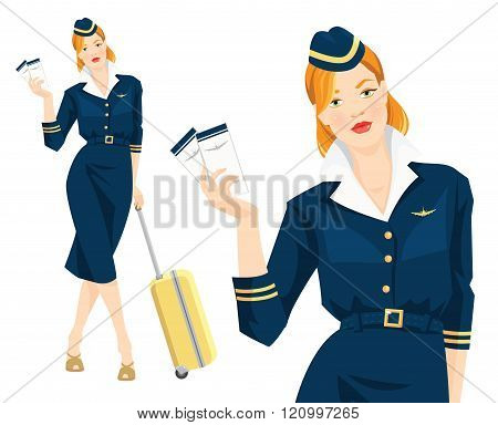 beautiful redhead air hostess holding ticket in her hand.