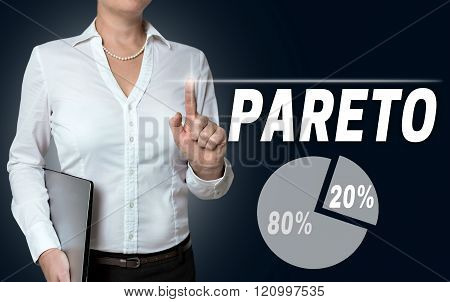 Pareto Touchscreen Is Operated By Businesswoman