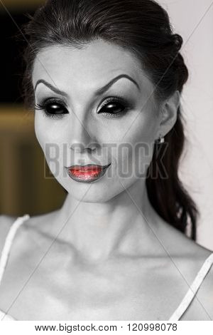 Woman smile with clown make up