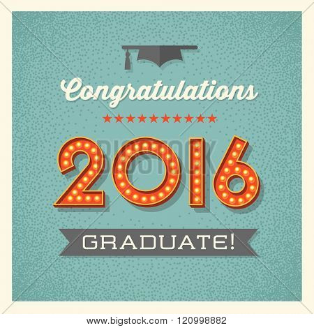 retro graduation card design with vintage marquee lighted numbers