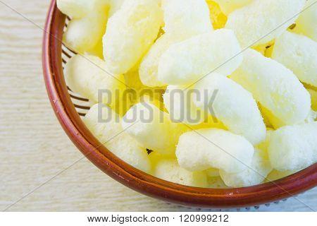 Sweet Saccharine Corn Sticks Are In A Vase
