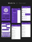 Material Design UI, UX, GUI Screens with flat web icons for mobile apps, responsive websites with Login Screen, Add Friends Screen, Message Preview Screen, Group Screen and Contact List Screen.  poster