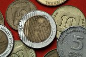 Coins of Israel. Prime Minister of Israel Golda Meir depicted in the Israeli ten new shekels coins.  poster