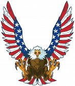 Vector cartoon clip art illustration of a mean screaming bald eagle flying toward the viewer with wings spread and talons out. Wings are treated with American flag graphics and colors. poster