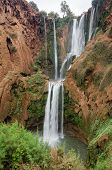 Closeup of Ouzoud Waterfalls located in the Grand Atlas village of Tanaghmeilt, in the Azilal province in Morocco, Africa poster