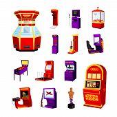 game machine icons set of jdarts boxer spider auto simulator boxing manikin pinball machine isolated vector illustration poster