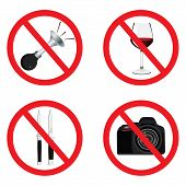 Set of signs for different prohibited activities. No signs. No drinking. No photographing. No weapon poster