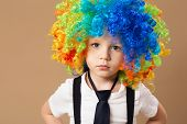Little boy in clown wig smilling and having fun. Happy clown boy with large colorful wig. Birthday boy. Little clown boy with colorful hair. Positive emotions. poster