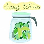 Vector childlike image of a vessel with Sassy water isolated on white and augmented with explanation. Food and healthy lifestyle theme illustration for sources articles and informational pictures. poster