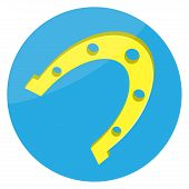 Horseshoes gold lucky icon. Horseshoe and horseshoe vector western and lucky lucky metal icon luck talisman horseshoe success fortune. Vector abstract flat design illustration poster