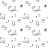 A vector seamless pattern of hand drawn doodles of electronic gadgets and devices. Computer, laptop, monitor poster