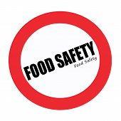 FOOD SAFETY black stamp text on white poster