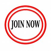 JOIN NOW black stamp text on white backgroud poster