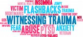 Witnessing Trauma word cloud on a white background. poster