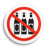 No Beer Prohibition Sign on White Round Plate. No alcohol forbidden symbol. No Beer Vector Illustration on white background poster