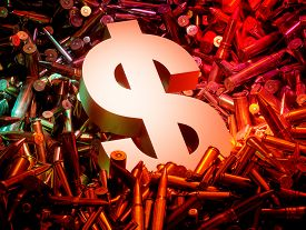 Arms trade business concept - ammo with dollar sign. 3D illustration.