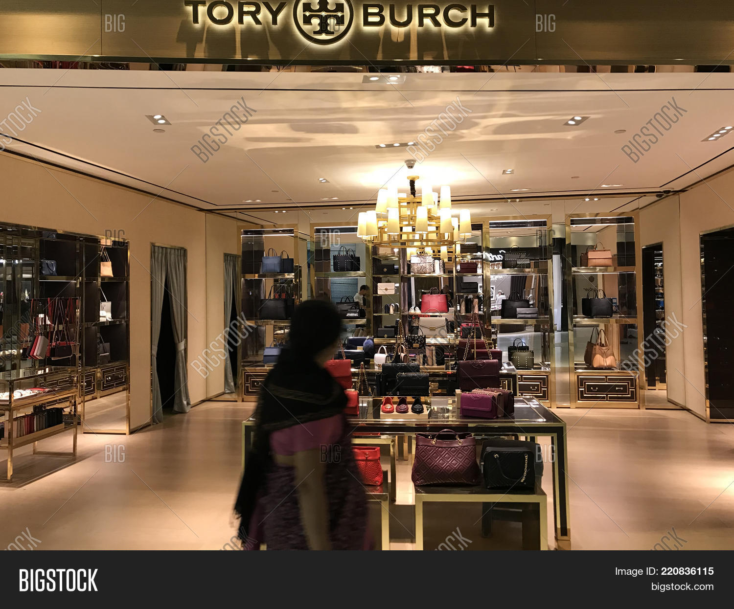 Bangkok, Thailand - December 20, 2017: Showcase of Tory Burch Brand  Boutique for