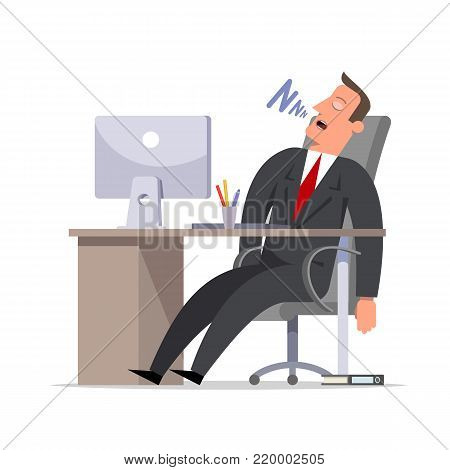 Businessman or clerk sleeps snoring in the office at the computer. Cartoon character flat style vector illustration.
