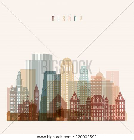 Albany state New York, skyline detailed silhouette. Transparent style. Trendy vector illustration.