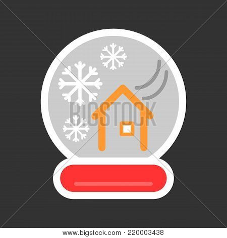 New Year's colorful ball with a house and snow. Vector icon. Linear magic ball isolated. snow globe on black background