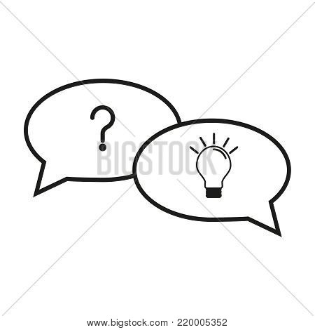Question and answer icons on white backdround