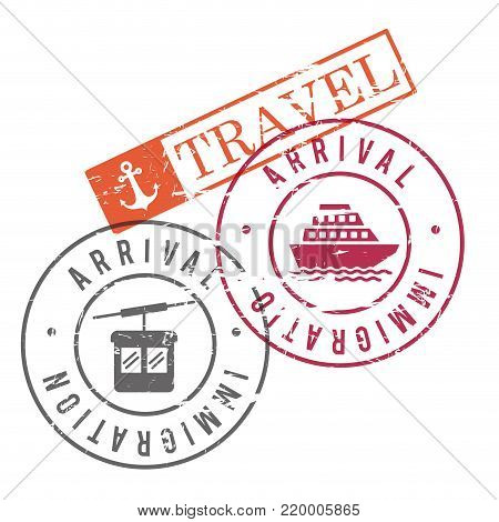 arrival immigration travel stamps of cableway and ship in colorful silhouette vector illustration