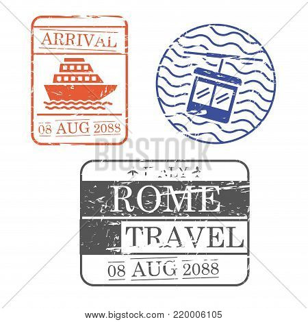 ship and cableway travel stamps of rome in colorful silhouette vector illustration