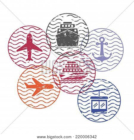ship and airplane and cableway travel circular stamps in colorful silhouette vector illustration