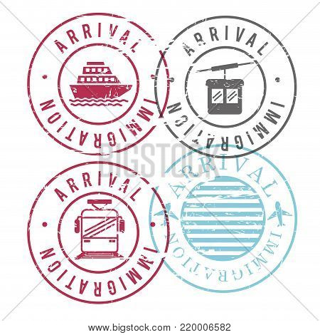 immigration arrival circular stamps of ship and cableway and train and airplane in colorful silhouette vector illustration