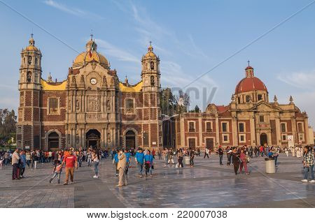 VILLA OF GUADALUPE MEXICO CITY, DECEMBER 02 2017 - Expiatory Temple to Christ king before Old Basilica of Guadalupe, next to the Temple and Exconvent of the Nasturtiums and Atrium of the Americas.