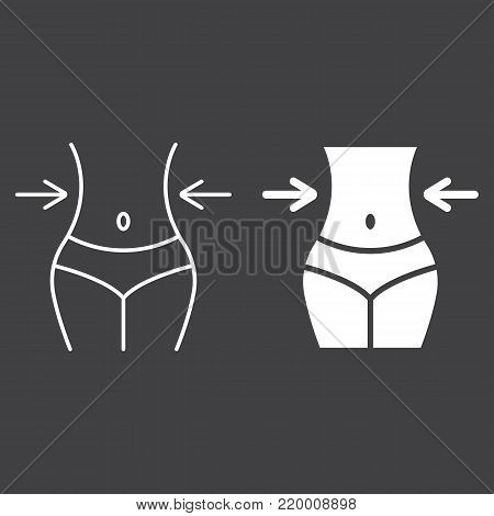 Weight loss line and glyph icon, fitness and sport, slim body with measuring tape sign vector graphics, a linear pattern on a black background, eps 10.